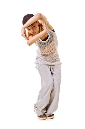 rowdy: el hip hop chica delgada en la danza. aislado en blanco