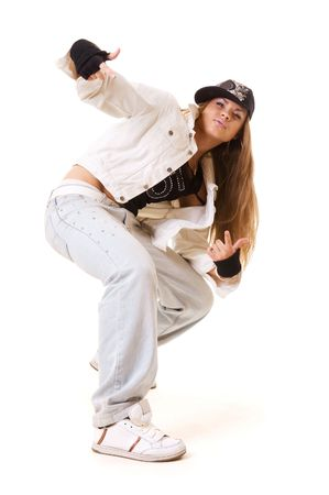 break dancing: tough hip hop girl in dance pose. isolated on white