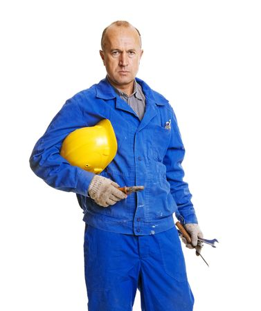 serious worker holding his hardhat and different tools. isolated on white Stock Photo - 3599713