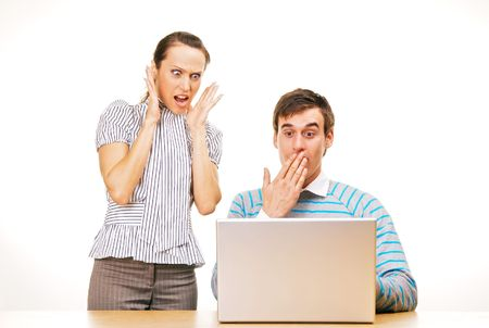 man and woman have problems with computer photo