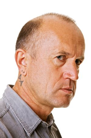 handsome middle-aged man with tattoo over white photo