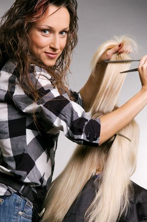 hairdresser and client over grey background Stock Photo - 3704651