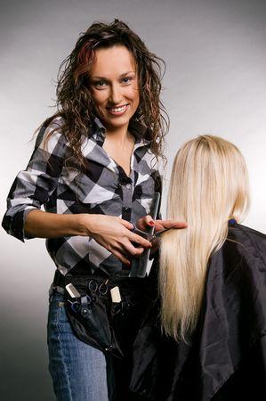 cheerful hairdresser doing her job Stock Photo - 3704646
