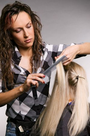 professional hairdresser doing haircut over grey background Stock Photo - 3704650