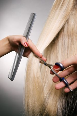 professional hairdresser in the work. studio shot over grey background Stock Photo