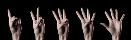 counting hands over black background Stock Photo - 3726117