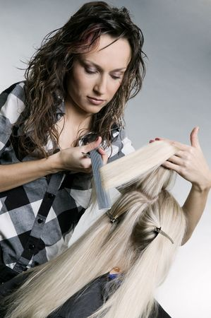 serious hairdresser doing hairstyle. studio shot Stock Photo - 3724471