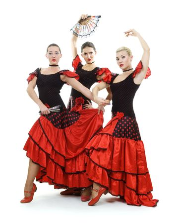 Spanish trio over white background photo