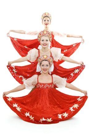 gogo girl: drei russische Sch�nheiten St�ndigen wie Weihnachtsbaum. isoliert auf wei�