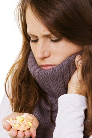 young sick woman with pills Stock Photo - 3809929