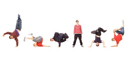 hip hop dancing: breakdance team isolated on white