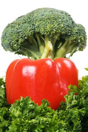 fresh paprika with broccoli against white background Stock Photo - 3881114