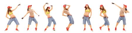 photo set of attractive hip hop girl isolated on white