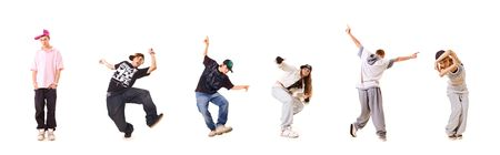 team of new style dancers isolated on white