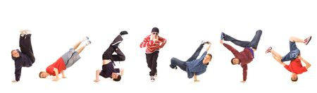 seven b-boys isolated on white Stock Photo