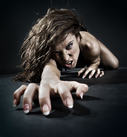 evil woman creeping from dark