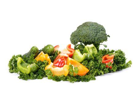 fresh vegetarian mix isolated on white background Stock Photo - 4022329