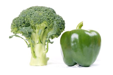 paprika and broccoli isolated on white background Stock Photo - 4022334