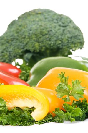parsley and fresh vegetables over white background Stock Photo - 4022340