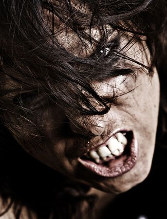 professionally retouched portrait of angry woman who look like zombie photo