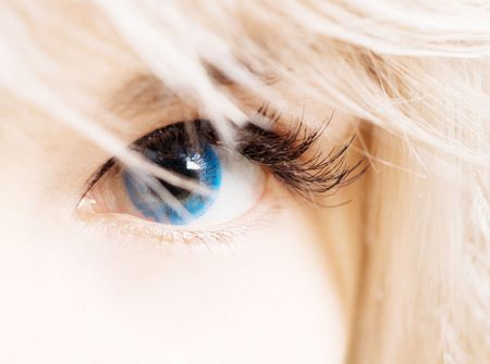 closeup of womans eye in blue contacts Stock Photo - 4004120