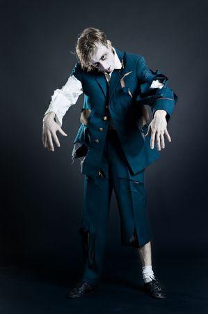 zombie soldier over dark background