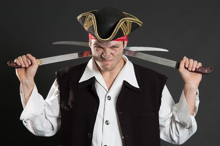 sabre's: dirty pirate with two sabres over dark background