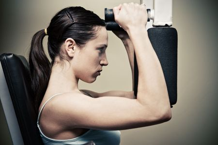 beautiful woman workout in gym Stock Photo