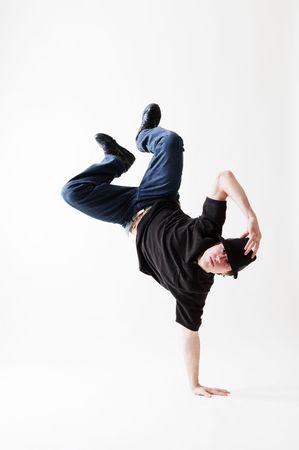 rowdy: breakdancer contra la congelaci�n en fondo blanco