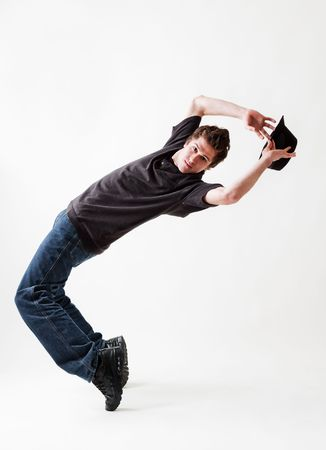 Rowdy: breakdancer dancing with hat against white background