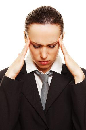 afflict: businesswoman have a headache. isolated on white