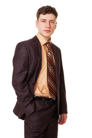 sure: sure young businessman against white background