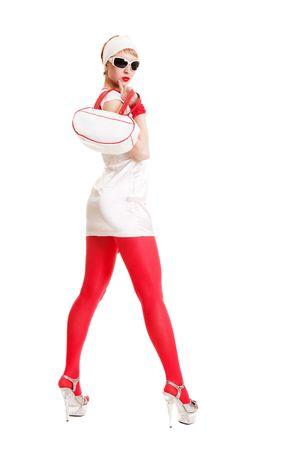 beautiful stylish woman in white short dress with bag photo