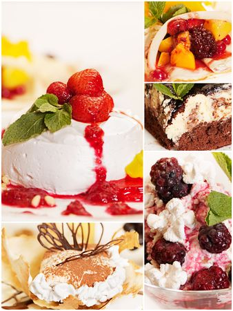 collage from five bright delicious desserts photo