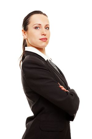 assured: portrait of assured smiley businesswoman. isolated on white
