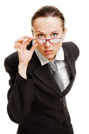 necktie: serious businesswoman in glasses. isolated on white