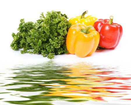 wet appetizing vegetables with green parsley Stock Photo - 4768808