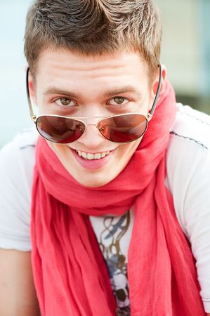 smiley guy in sunglasses at outdoor Stock Photo - 5075478