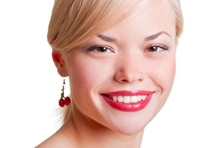 close-up portrait of smiley woman against white background photo