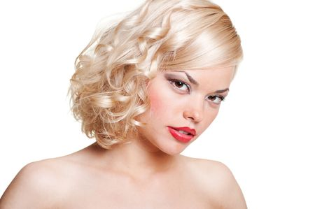 portrait of beautiful blonde. isolated on white photo