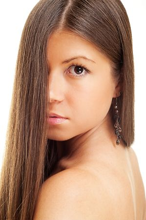 long nose: close up portrait of beautiful woman with long hair