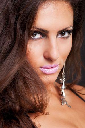 close-up portrait of beautiful sexy woman photo