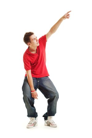 cool guy pointing at something. isolated on white photo