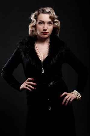 portrait of exquisite blonde. retro style photo