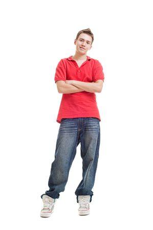 スニーカー: 赤い t シャツで優しい男。白で隔離されます。