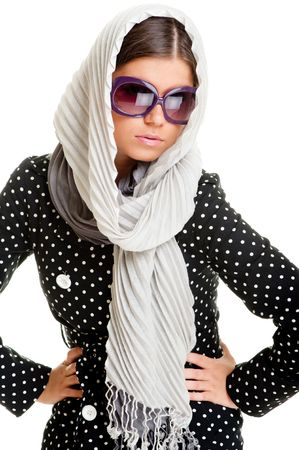 portrait of glamor woman in sunglasses and headscarf photo