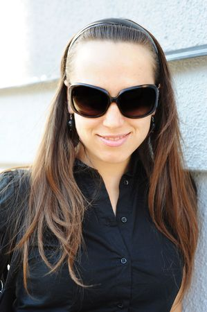 portrait of graceful woman with long hair in sunglasses Stock Photo - 5530730