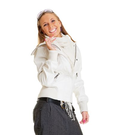 merry woman in white jacket. isolated on white background photo
