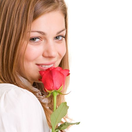 close-up portrait of lovely girl with red rose photo