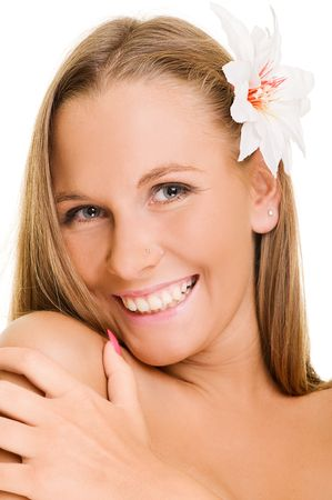 pleasant woman with white flower in her hair photo